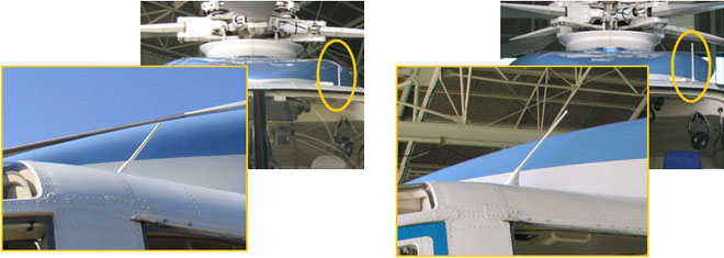 図5 ELTのアンテナ (左)以前のELTアンテナと、(右)今回換装されたELTアンテナ。以前と比べてアンテナが長くなっています。