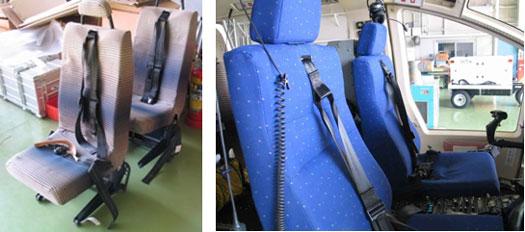 図6 (左)取り下ろされた従来のパイロット座席と、(右)新しいパイロット座席シート
