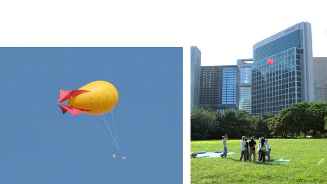 係留気球(左)とパイロットバルーンの放球(右)