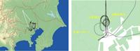 実際に飛行した経路の例、都心部周辺(黒色、7日午後実施)と広域(白色、8日早朝実施)、右の図は 汐留・浜離宮周辺の飛行経路の拡大図(7日午後実施)