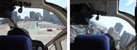芝浦へリポートへの着陸(左)と離陸直後(右)、ヘリポートの正面にビルがあるので離陸後すぐに左旋回します。