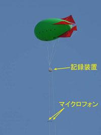 気球に騒音計測用のマイクロフォンとデータ記録装置を取り付けた様子