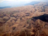 上空から見た牧場地帯の地形